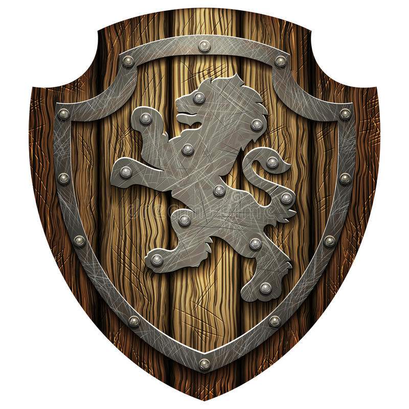 The oak knight's shield with rivets and metal Lev. The oak knight's shield with rivets and a metal lion on a blank background vector illustration