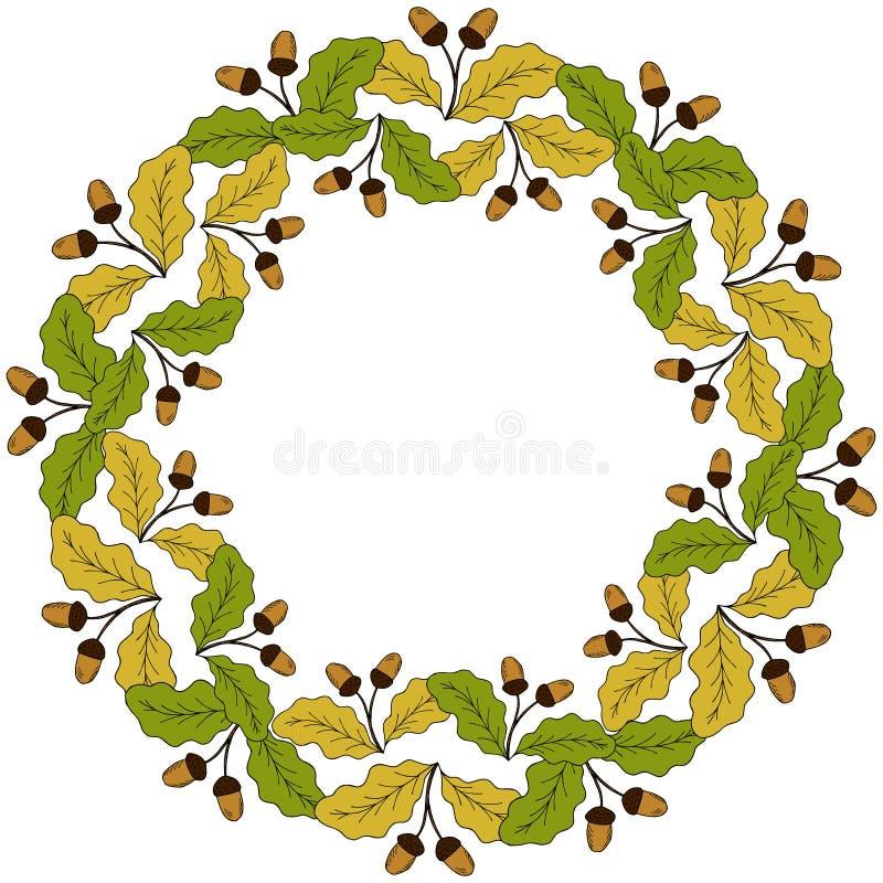 oak leaf and acorn in color liner round frame 2 stock vector rh dreamstime com