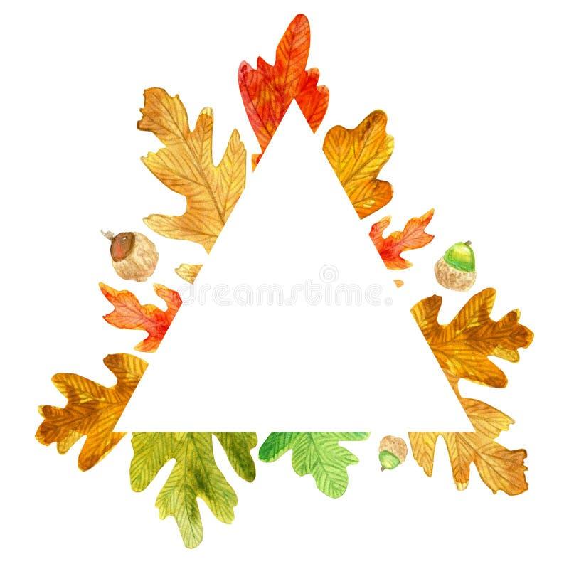 Autumn triangle frame. Watercolor oak leaves stock illustration