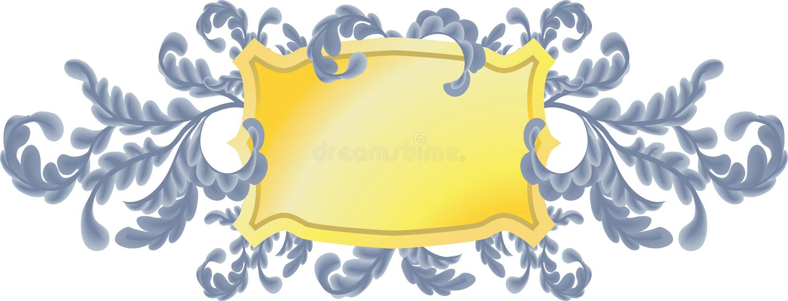 Oak Leaves Scrolls Shield. An illustration of a shield or plaque with pretty oak leaf scrolls. No meshes used stock illustration