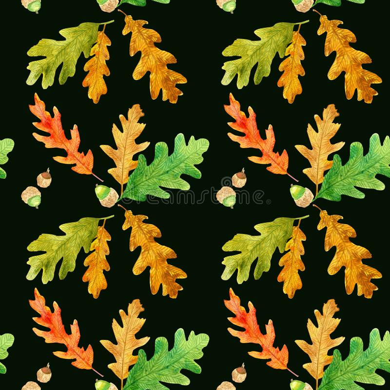 Oak leaves seamless pattern on black royalty free stock photo