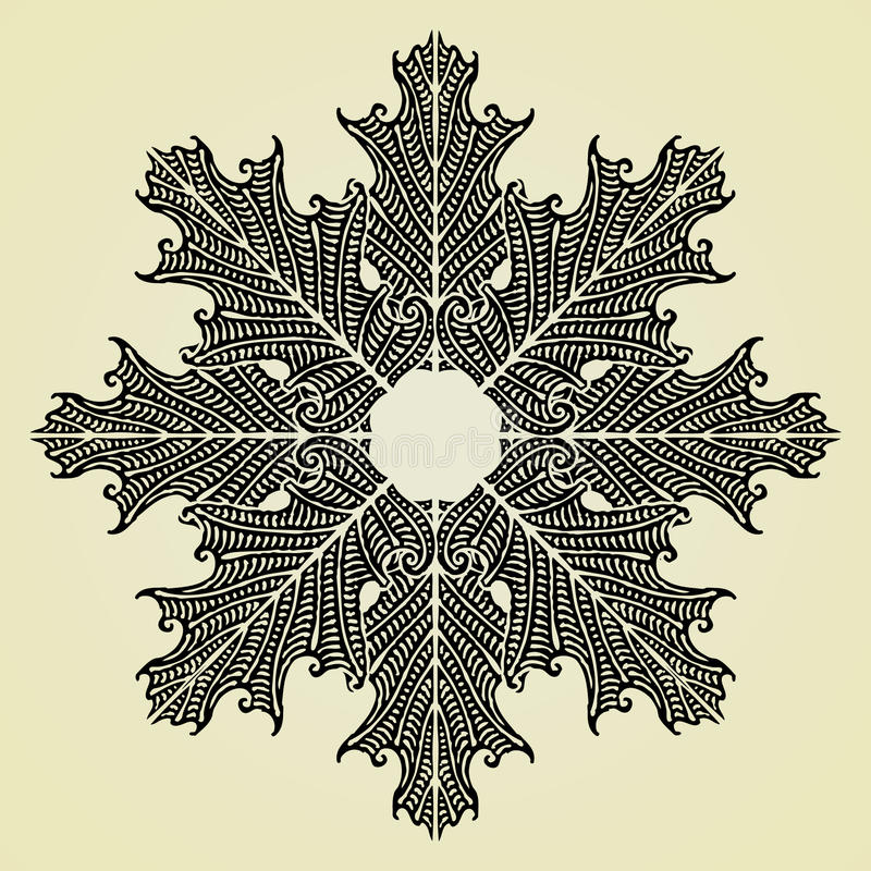 Download Oak Leaves Star Black Original Woodcut Stock Vector - Image: 19434039