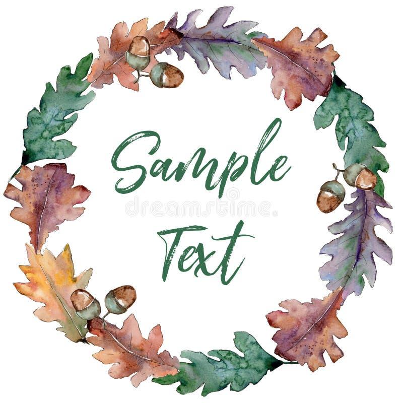Oak leaves wreath in a watercolor style. royalty free illustration
