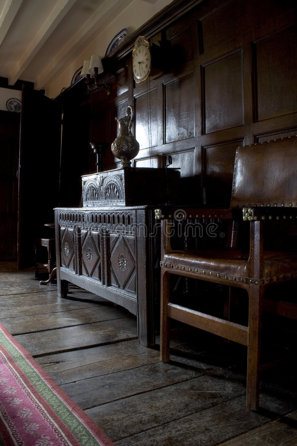 Oak panelled room stock photography