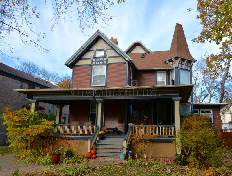 Oak Park Italianate. This is a Fall picture of a house located in Oak Park, Illinois. This house built in 1884 is an example of Italianate architecture. This royalty free stock photo