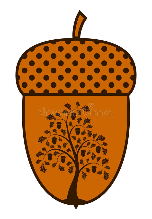 Oak Tree In Acorn Stock Vector Illustration Of Silhouette
