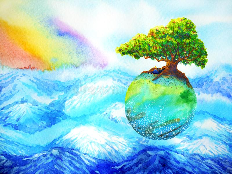 Oak tree on colorful earth floating above mountain with rainbow sky watercolor painting stock illustration