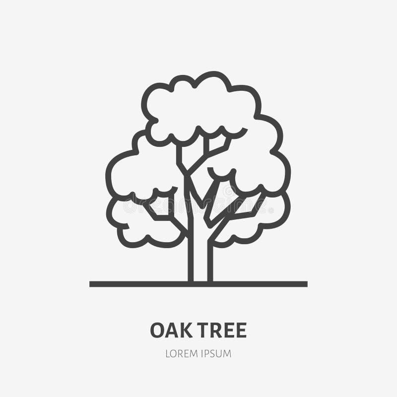 Oak tree flat line icon. Vector thin sign of park plant, ecology logo. Nature illustration, forest symbol stock illustration