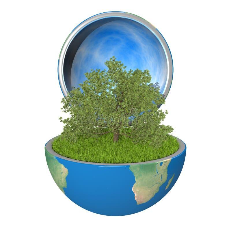 Oak tree inside planet royalty free illustration