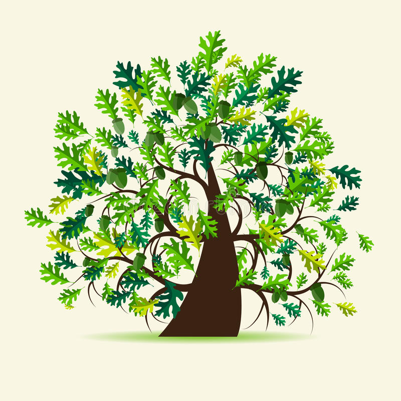 Oak tree, summer. Vector illustration stock illustration