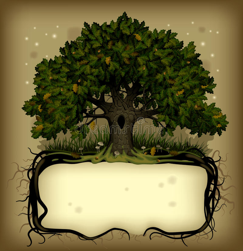 Free Oak Tree Wih A Banner Royalty Free Stock Images - 18565949