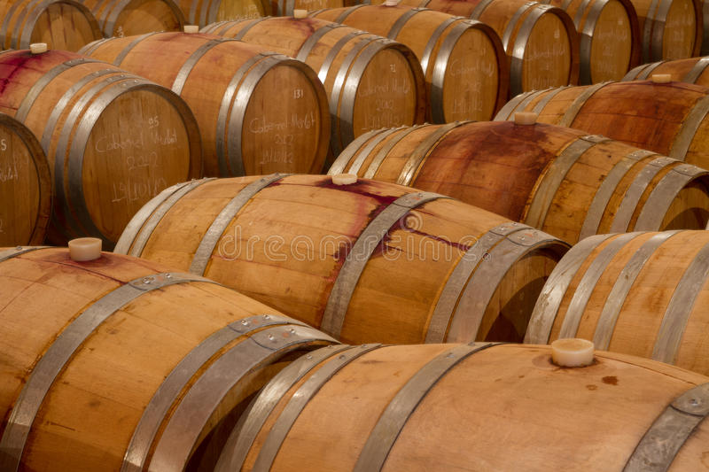 Oak Wine Barrels In A Winery Celar Royalty Free Stock Image