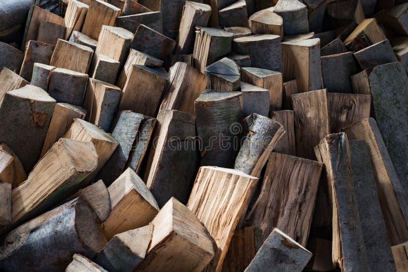 Oak wood lumber timber logs firewood stack stock image