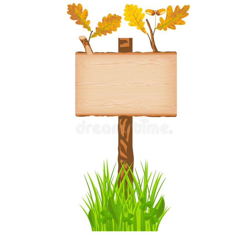 Oak wooden log signboard with green leaves on a pole at the grass lawn vector illustration