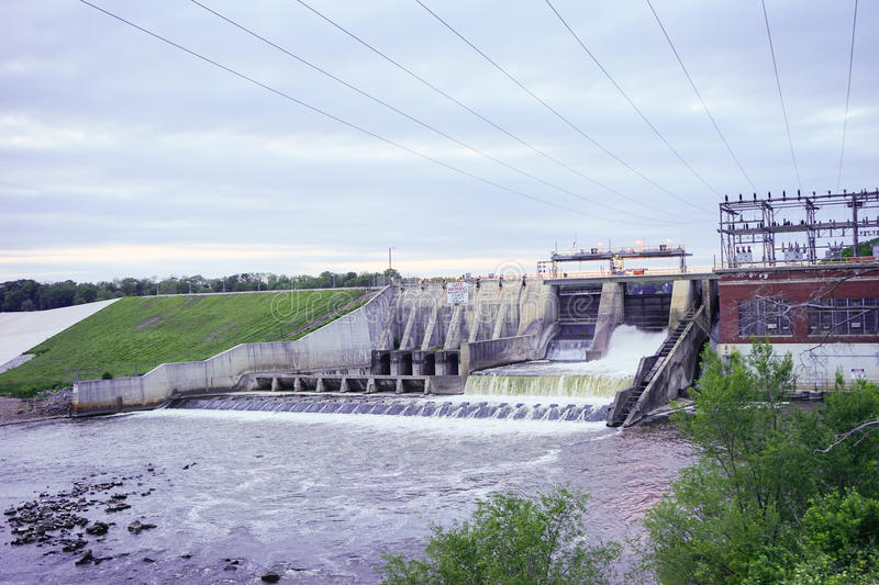 Oakdale Dam. Monticello, Indiana, at the south end of beautiful Lake Freeman royalty free stock photography