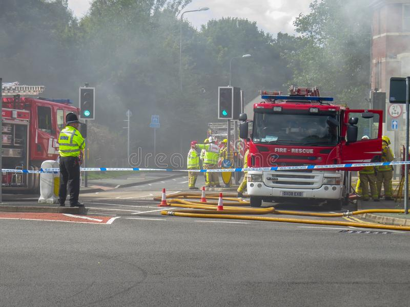Oakengates,Shropshire/England - Sept 14 2015. Mergency services attending a Fire at the  Claddagh Pub in Oakengates royalty free stock image
