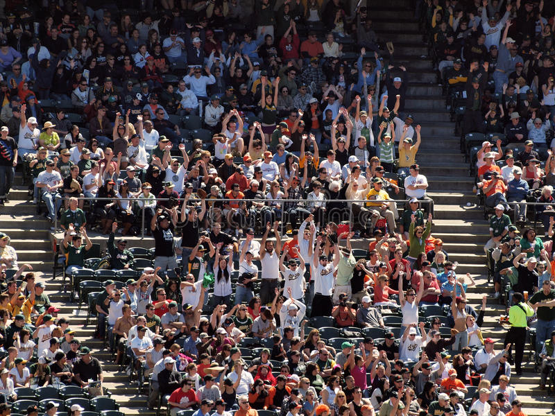 Oakland Athletics fans do the wave royalty free stock image