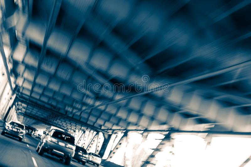 Oakland Bay Bridge Traffic. Drive. Urban Blue Color Grading. San Francisco, California, United States royalty free stock photography