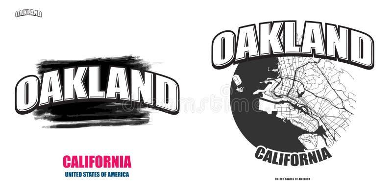 Oakland, Califórnia, duas artes finalas do logotipo ilustração stock