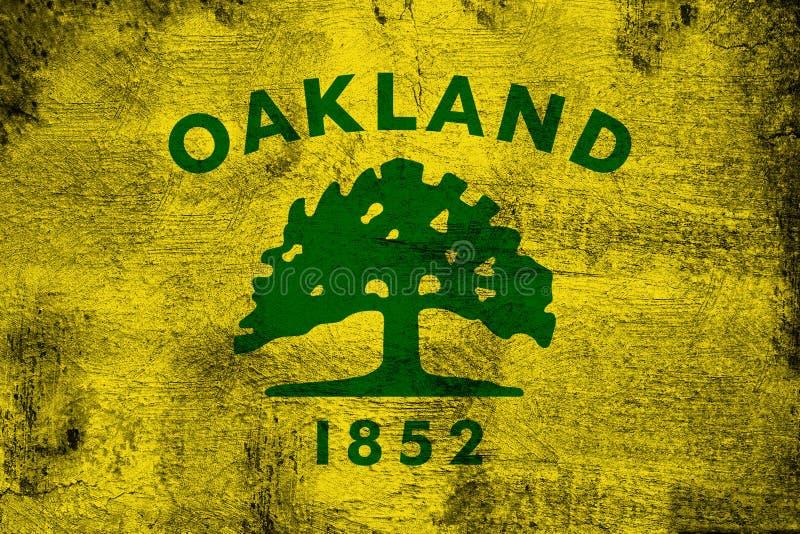 Oakland Califórnia oxidada e ilustração da bandeira do grunge ilustração stock
