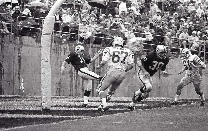 Oakland Raiders Punter Mike Eischeid #11. Image taken from a b&w negative royalty free stock images