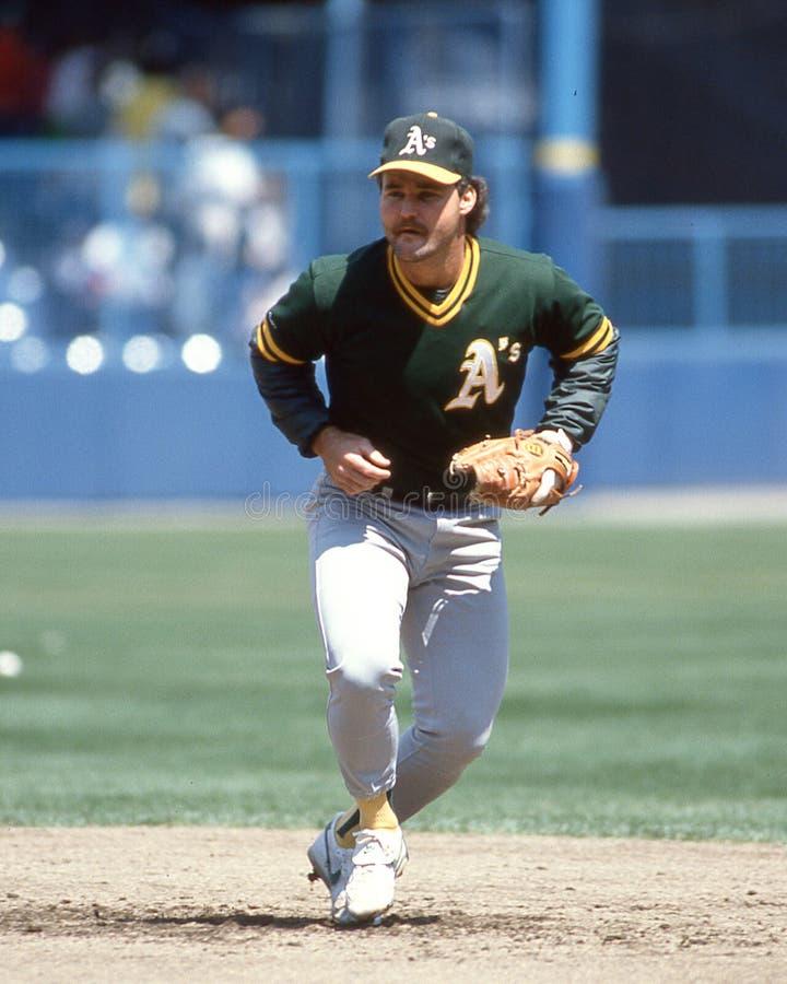 Glenn Hubbard, Oakland Athletics. Oakland A`s 2B Glenn Hubbard. Image taken from a color slide royalty free stock photos