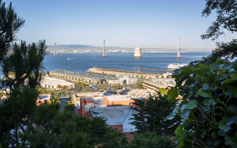 Oakland zatoki most i Fishermans nabrzeże, San Francisco, Kalifornia, Stany Zjednoczone Ameryka, usa fotografia royalty free