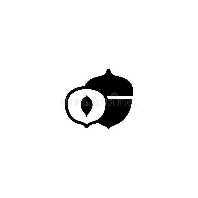 Oaknut o ghianda, icona semplice del nero di vettore della frutta a guscio illustrazione di stock