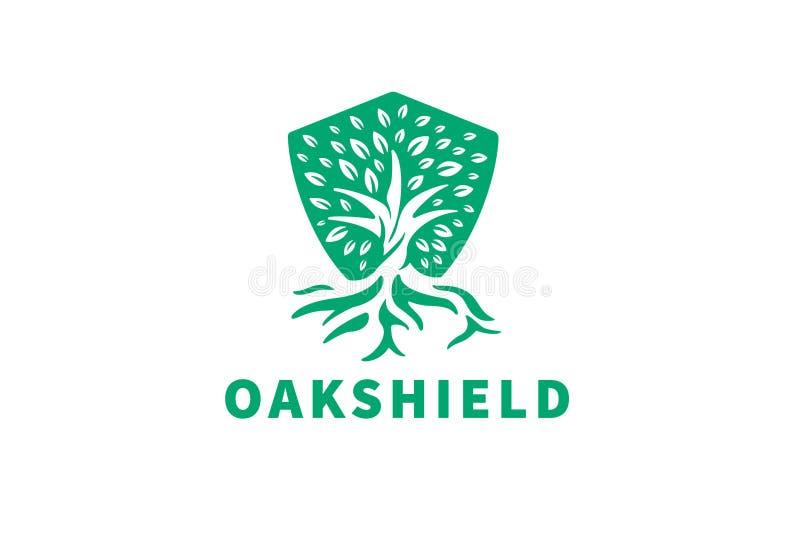 OakShield — Ujemne logo powierzchni dębu i tarczy ilustracji