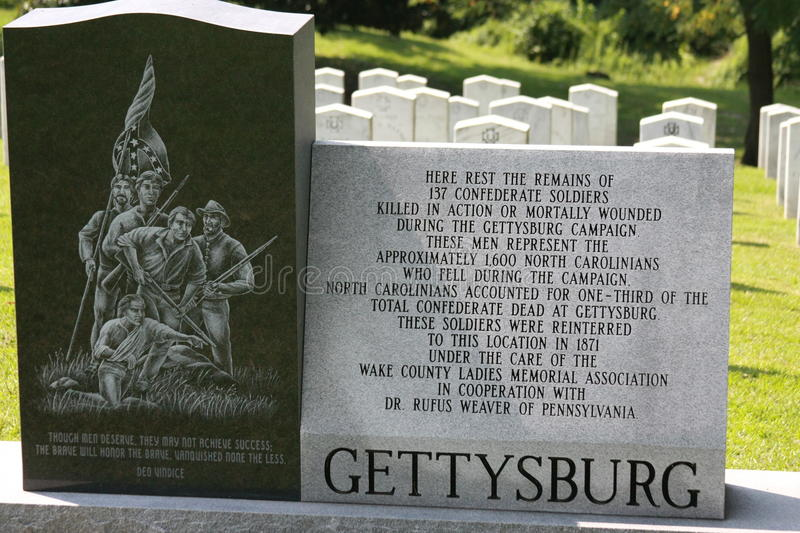 Oakwood Cemetery Confederate Graves from Gettysburg stock image