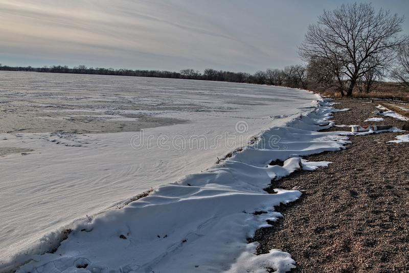 Oakwood sjödelstatsparken är i staten av South Dakota nära Brookings arkivbild
