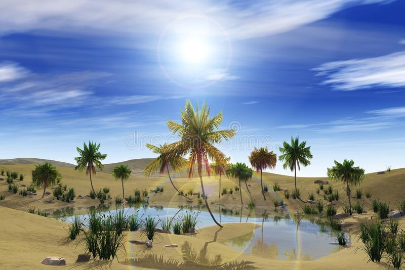 Oas i öknen, palmträden och sjön royaltyfria foton
