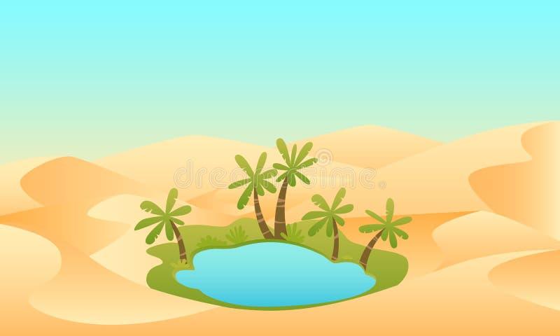 Oase in de Woestijn stock illustratie