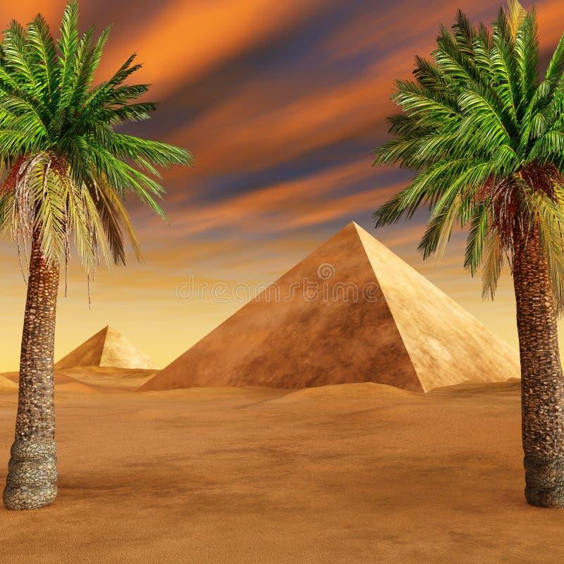 Oase in de zandige woestijn royalty-vrije illustratie