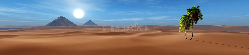 Oase in de zandige woestijn stock illustratie