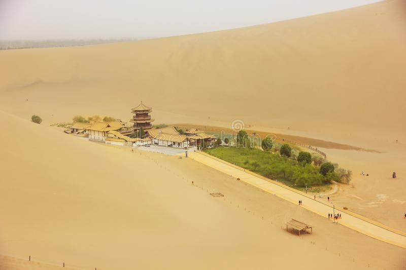 Oase in Dunhuang, China royalty-vrije stock foto