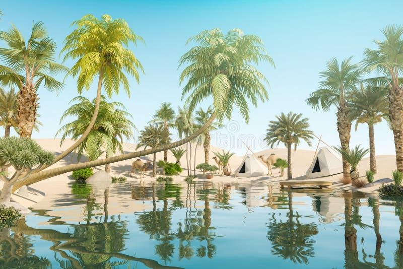 Oase en Palmen in Woestijn en Reizigerskampen royalty-vrije illustratie