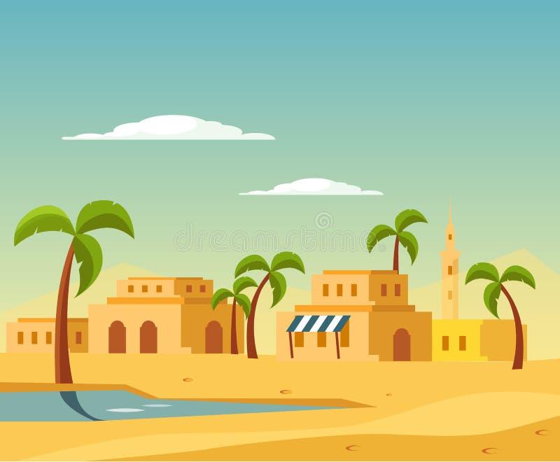 Oase met de Stad in Woestijn royalty-vrije illustratie