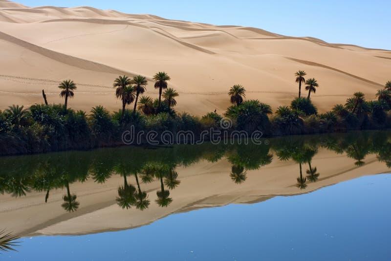 Oase, See Gabron Libyen stockfotos