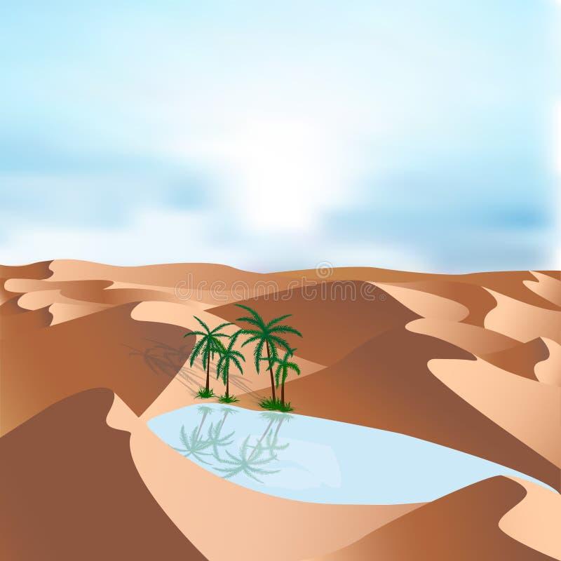 Oase in woestijn - landschapsachtergrond Vectorillustratie met zandduinen, blauwe meer en palmen stock illustratie
