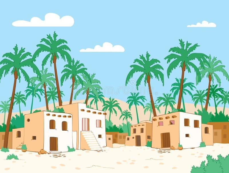 oase Woestijndorp in de oase royalty-vrije illustratie