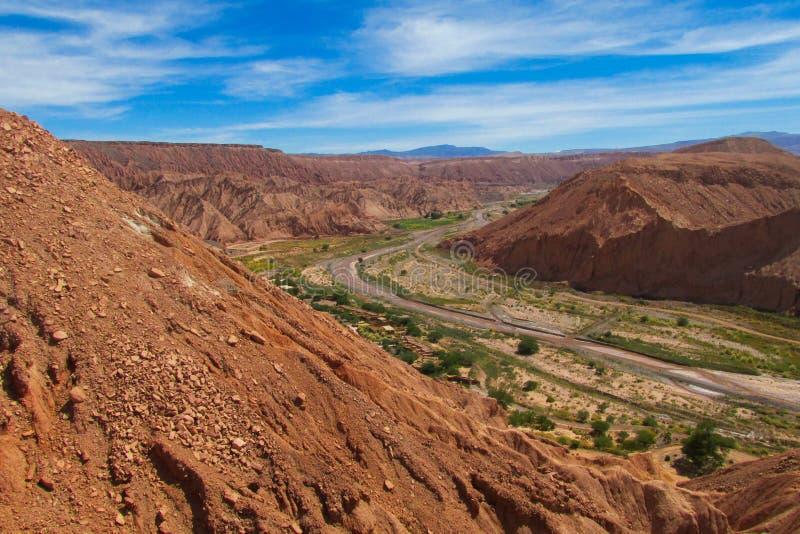 Oasevallei Quitor in Atacama, Chili royalty-vrije stock fotografie