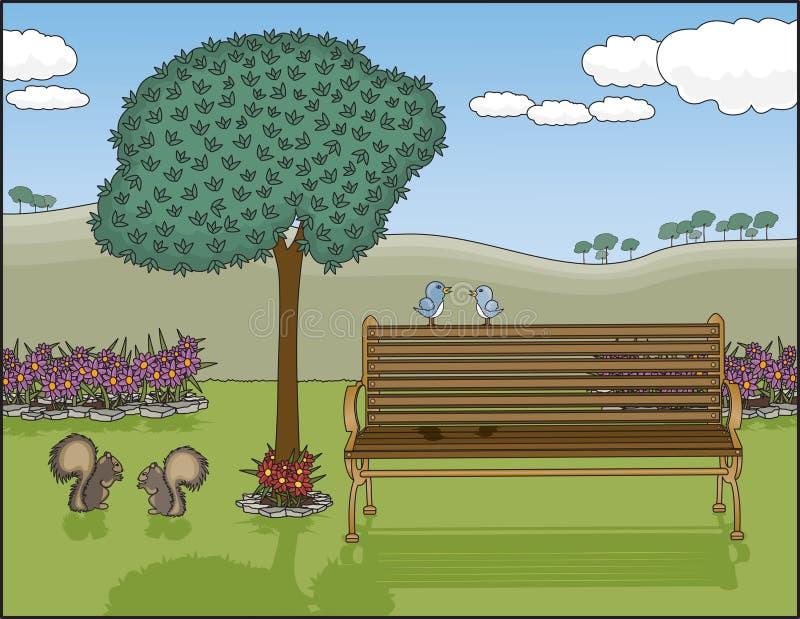 Oasis del banco de parque stock de ilustración