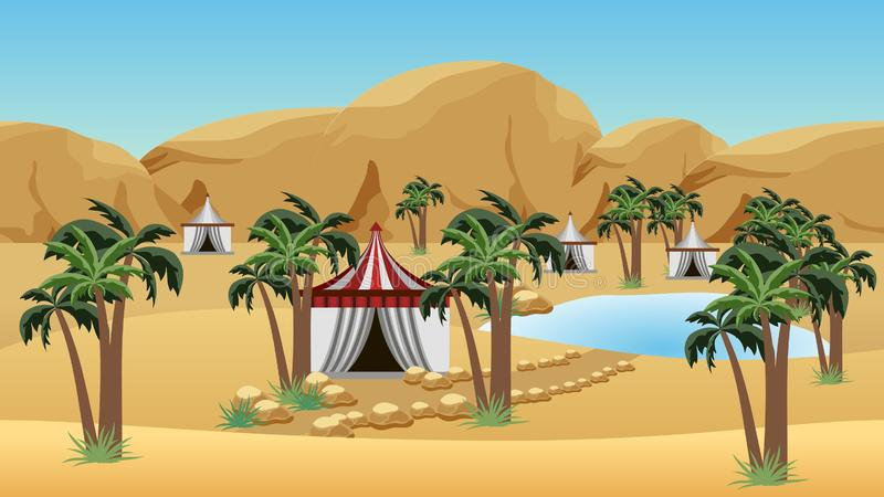 Oasis in desert with Bedouin camp. Landscape for cartoon or game background. Desert, sand dunes, lake, palms and Bedouin tents. Vector illustration vector illustration