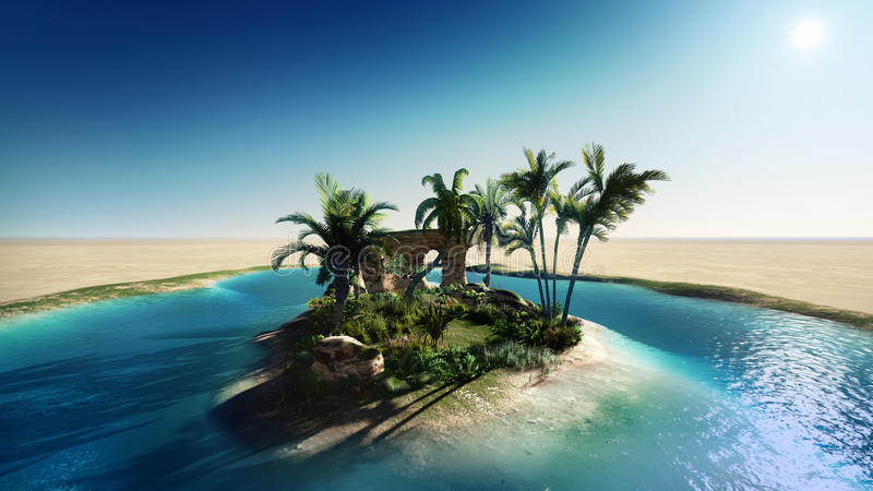 Oasis in the desert royalty free illustration