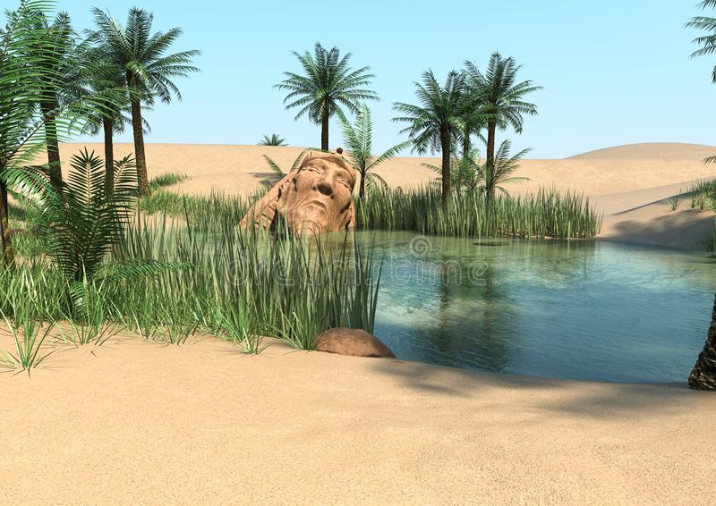 Oasis on the desert of my imagination stock illustration