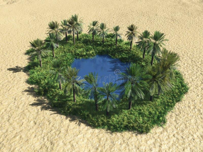 Oasis en el desierto ilustración del vector