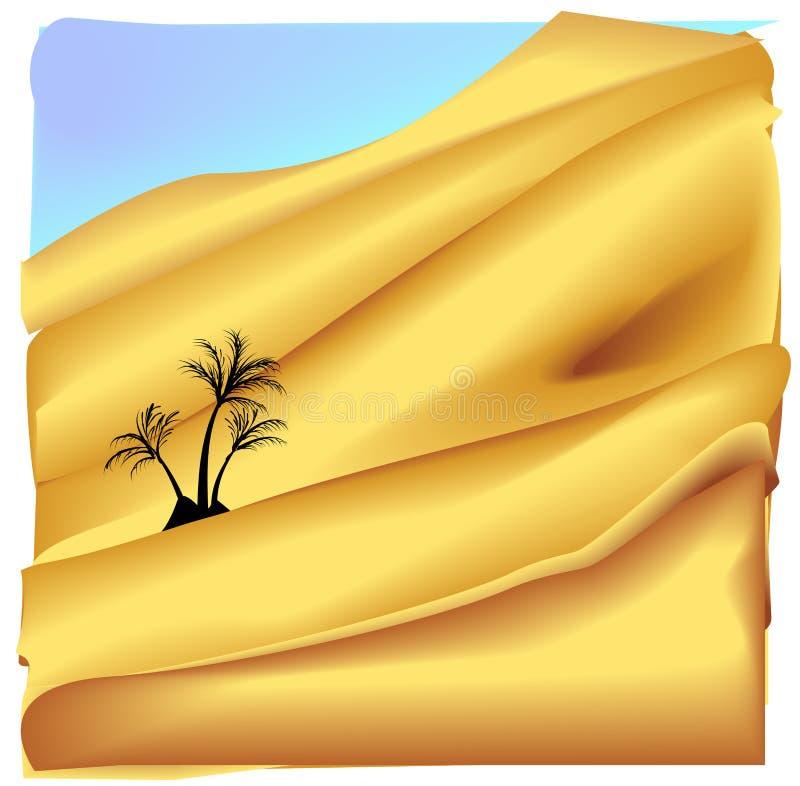 Oasis en el desierto de Sáhara ilustración del vector