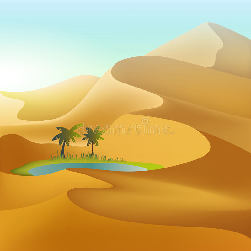 Oasis en las dunas del desierto stock de ilustración