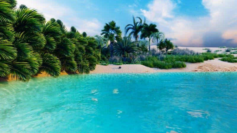 Oasis fantastique stupéfiante dans le désert Temps clair Montagnes, dunes de sable, palmiers et un ciel étouffant avec des nuages illustration libre de droits